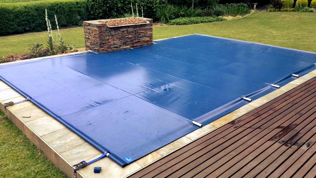 Синьо PVC покривало за басейн
